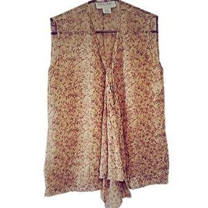 Emanuel Ungaro Tan Floral Silk Top